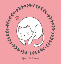 cat inside round floral frame with heart vector image