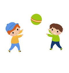 children playing with a ball children playing vector image
