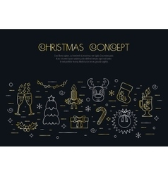 Christmas black concept with decorated Christmas vector image