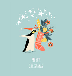 christmas card with funny penguin in santa hat vector image