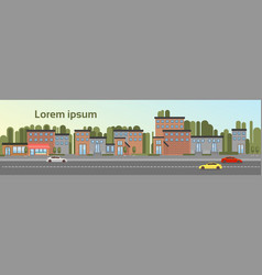 City building houses town view with car road vector