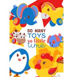 clockwork bright mechanic children tin toys poster vector image