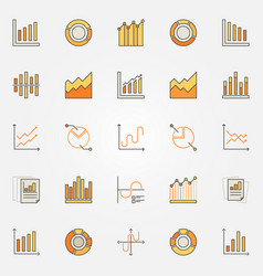 Colorful diagram and graph icons vector