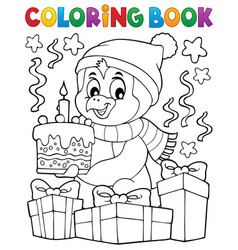 coloring book penguin with cake theme 2 vector image