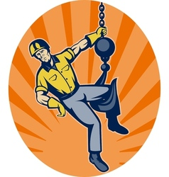 Construction worker hanging on hook vector