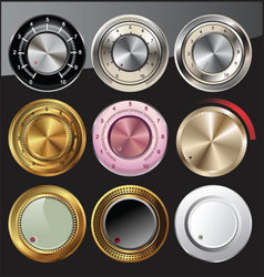 Control or volume knobs in different colors vector image