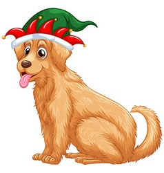 Cute dog wearing jester hat vector