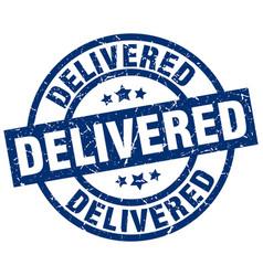 Delivered blue round grunge stamp vector