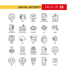Digital security black line icon - 25 business vector