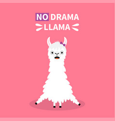 Do drama llama alpaca sitting cute cartoon funny vector