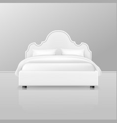 double bed realistic white bedroom home furniture vector image