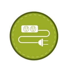 Electric extension cord cable and plug green vector