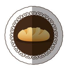Emblem color nomal bread icon vector