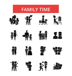 Family time thin line icons linear vector