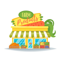 Farm product shop facade vector