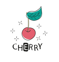 Fashion funny slogan with cherry patch for t-shirt vector