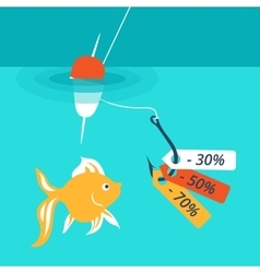 Fish on the hook Discounts and sales vector image