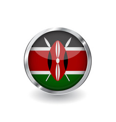 flag of kenya button with metal frame and shadow vector image