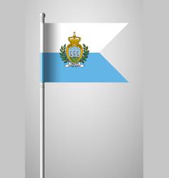 Flag of san marino national flag on flagpole vector