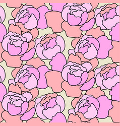 Floral peony pink pattern in hand drawn vector
