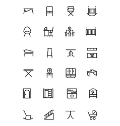 Furniture line icons 4 vector