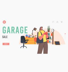 Garage sale landing page template female vector