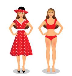 girls set in red dress and bikini underwear on vector image
