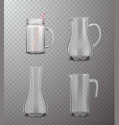 Glass jugs realistic transparent set vector