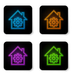 glowing neon smart home settings icon isolated on vector image