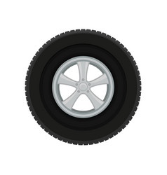 Gray car disk with large black tire automobile vector