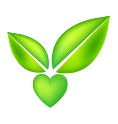 Green icon with heart shape and two leaves vector