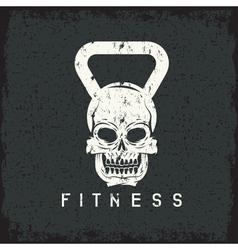 Grunge skull in form kettlebell fitness vector