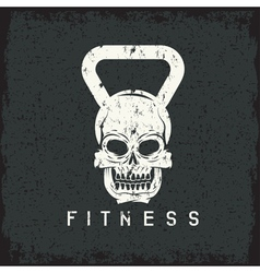 grunge skull in the form of kettlebell fitness vector image