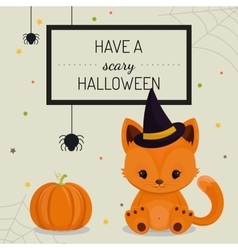 Halloween card or background with little fox vector