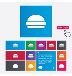 Hamburger sign icon Fast food symbol vector image