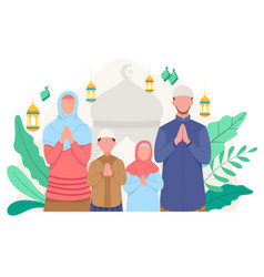 Happy family greeting and celebrating eid mubarak vector