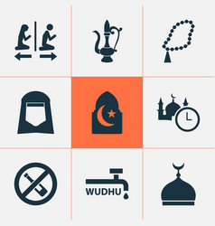 Holiday icons set with no alcohol islam minaret vector
