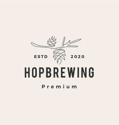hop brewing hipster vintage logo icon vector image