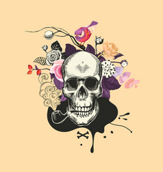 human skull drawn in woodcut style smokes fuming vector image