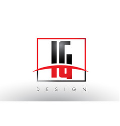 Ig i q logo letters with red and black colors and vector