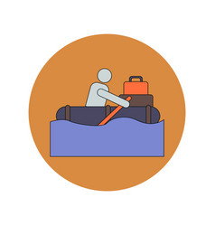 In flat design of man on raft vector