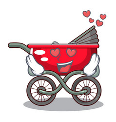 in love baby sitting in a baby stroller cartoon vector image