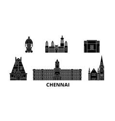 India chennai flat travel skyline set india vector
