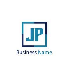 initial letter jp logo template design vector image
