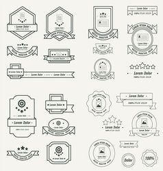 Label And Ribbon template design set line style vector image