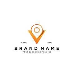 Letter v map pin logo design vector