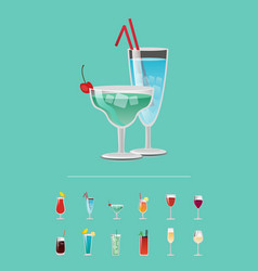 List of cocktail choose refreshing alcoholic drink vector