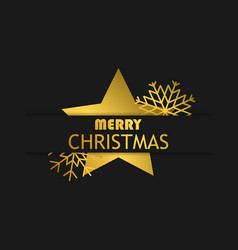 merry christmas banner with golden star and vector image
