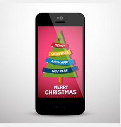 merry christmas greeting message with xmas tree vector image