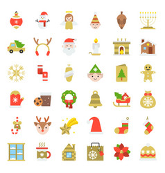 merry christmas icon set 5 flat style vector image